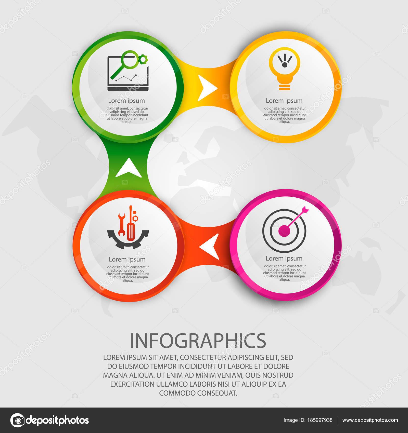 Moderne Vektor-Illustration 3d. Schablone Kreis Infografiken mit ...