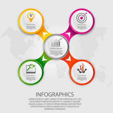 Modern vector illustration 3d. Template circle infographics with five elements. Designed for business, presentations, web design, diagrams with 5 steps, options, parts or processes. Creative concept
