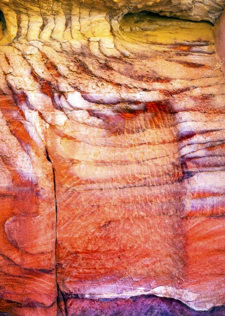 Red White Rock Abstract Near Royal Tombs Petra Jordan