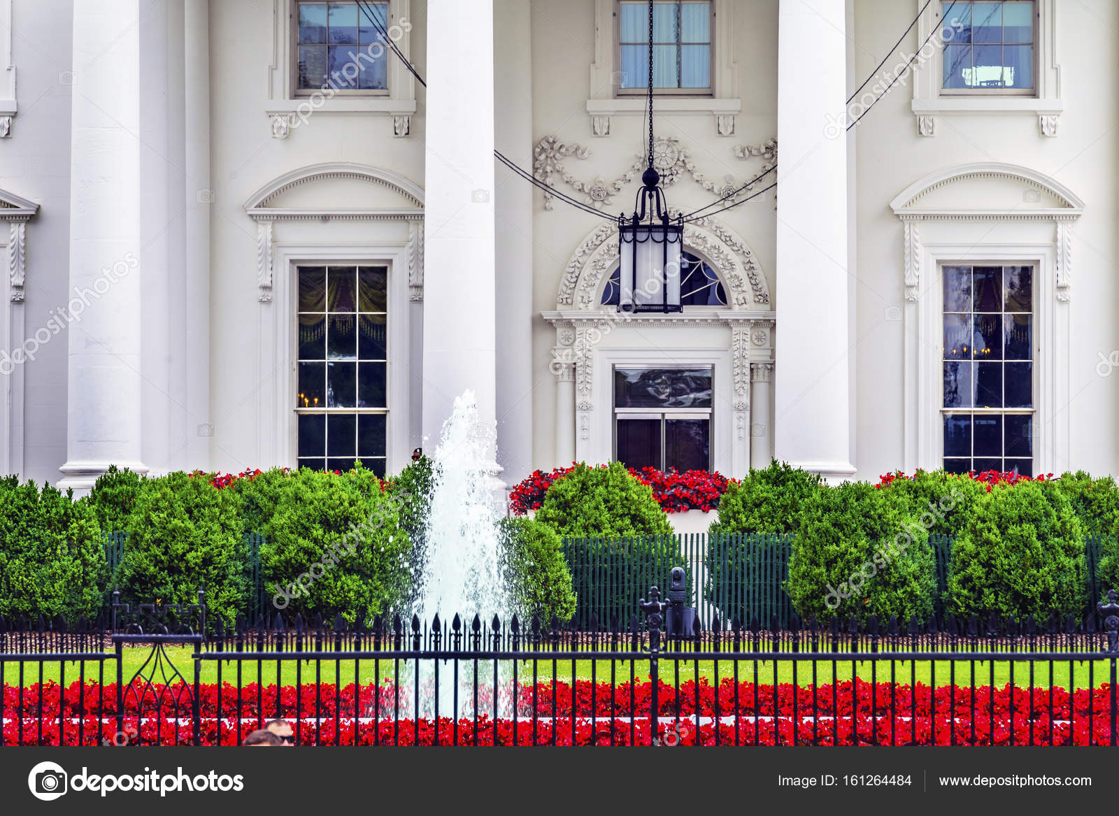 Maison Blanche Porte Fleurs Rouges Pennsylvania Avenue Washington Dc