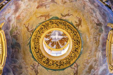 Holy Spirit Fresco Dome Ceiling Santa Maria Maddalena Church Rome Italy