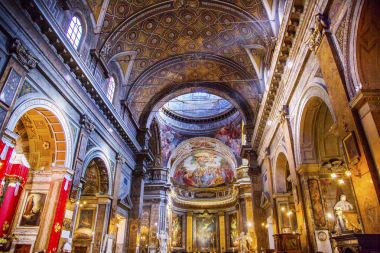 Jesus Fresco Dome Ceiling Santa Maria Maddalena Church Rome Italy