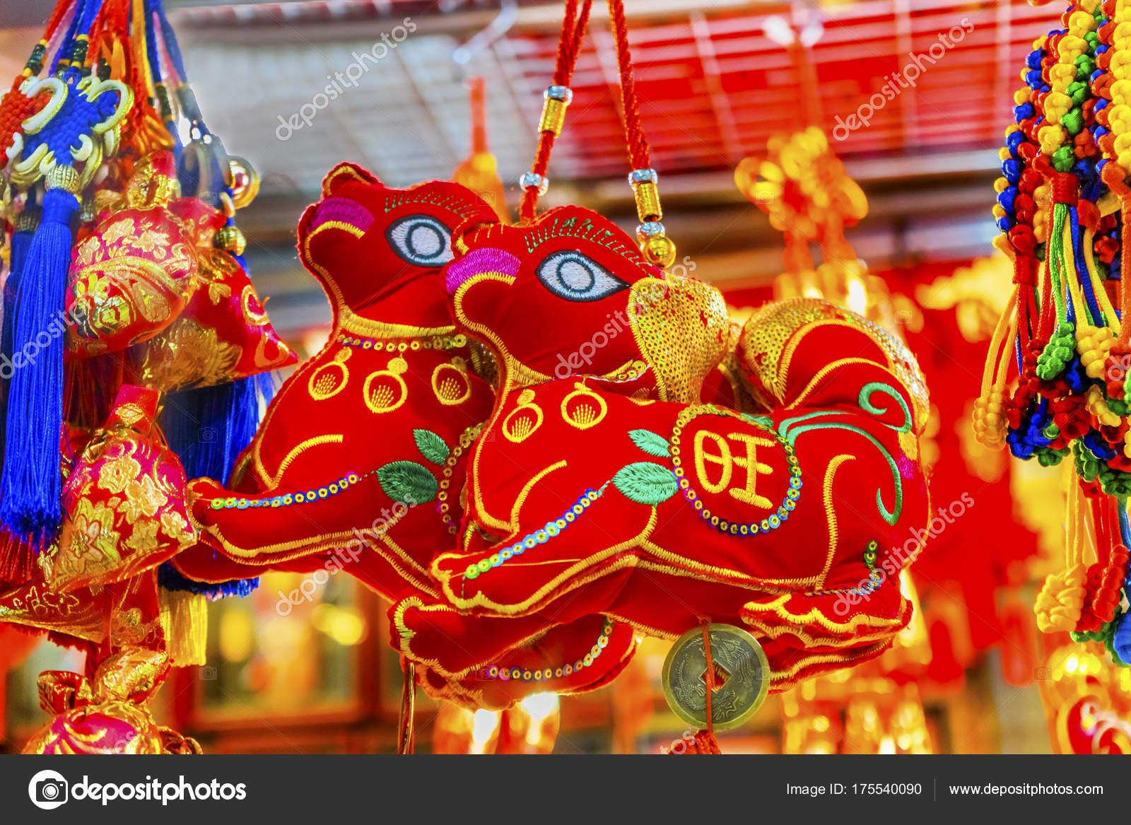 Roten alten Hunden Chinese Lunar New Year Dekorationen Peking China ...