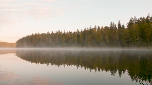 Reggel köd borítja a tavat az őszi erdő mellett