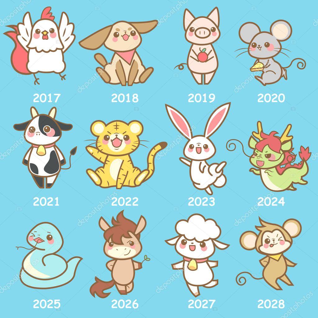 cute cartoon chinese zodiac