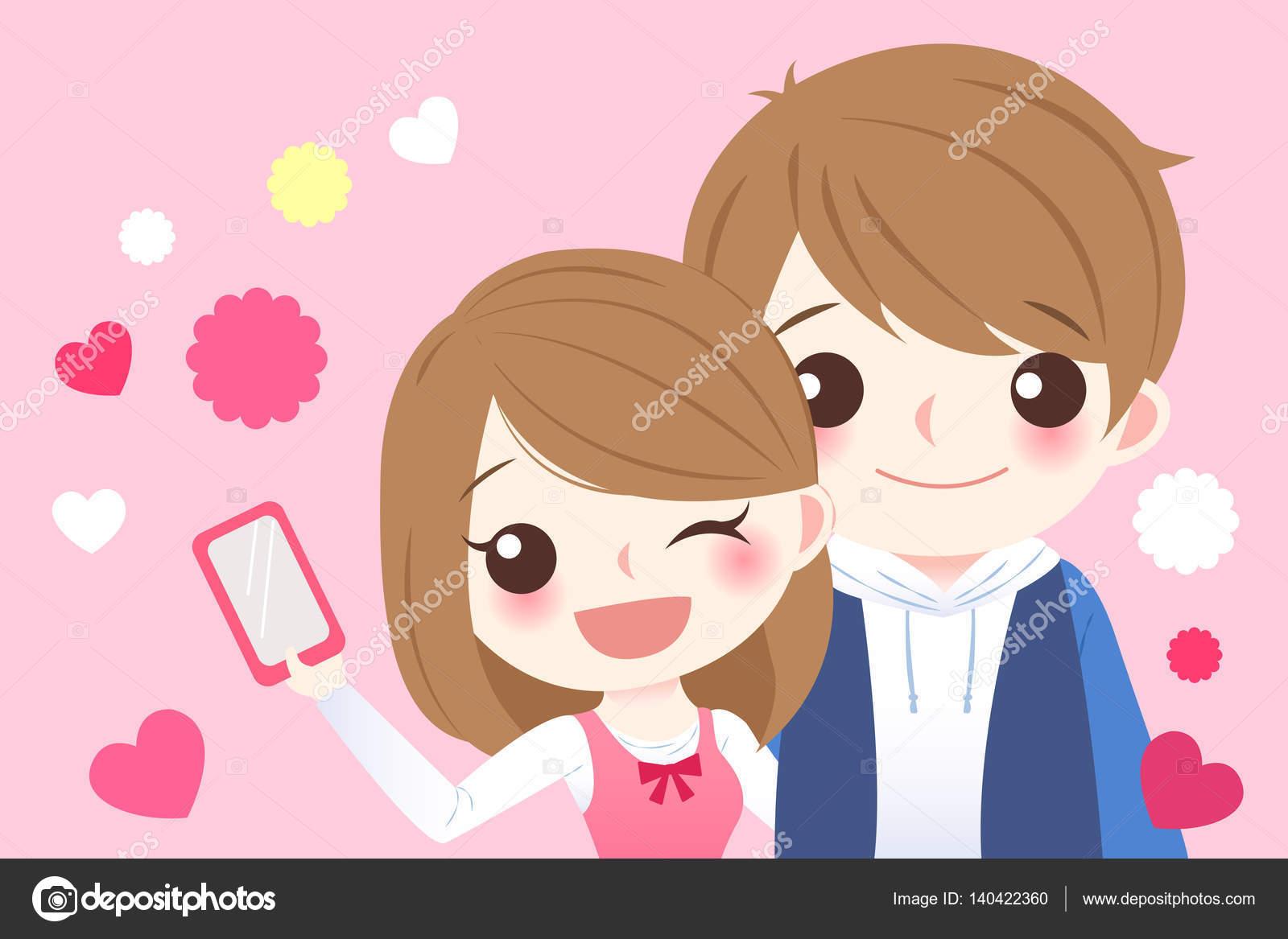 Dessin Anime Mignon Couple Selfie Image Vectorielle Estherqueen999