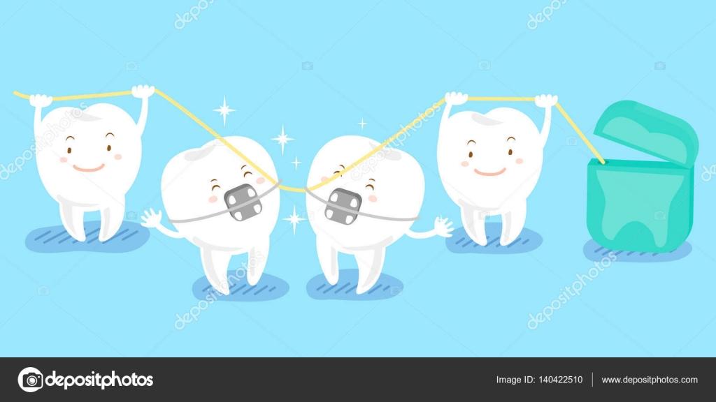 Dientes De Dibujos Animados Jugando Con Hilo Dental