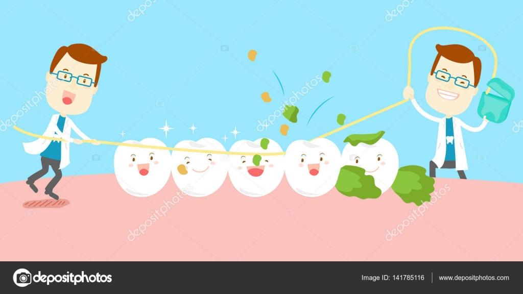 87913c4bc Dentista de bonito dos desenhos animados usar dente limpo de fio dental —  Vetor de ...