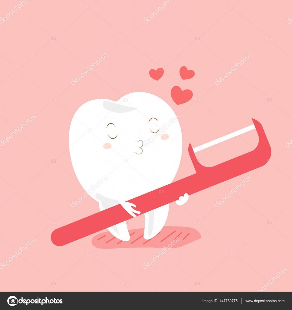 1efc628ba Dentes de amor bonito dos desenhos animados e fio dental com fundo rosa —  Vetor por ...