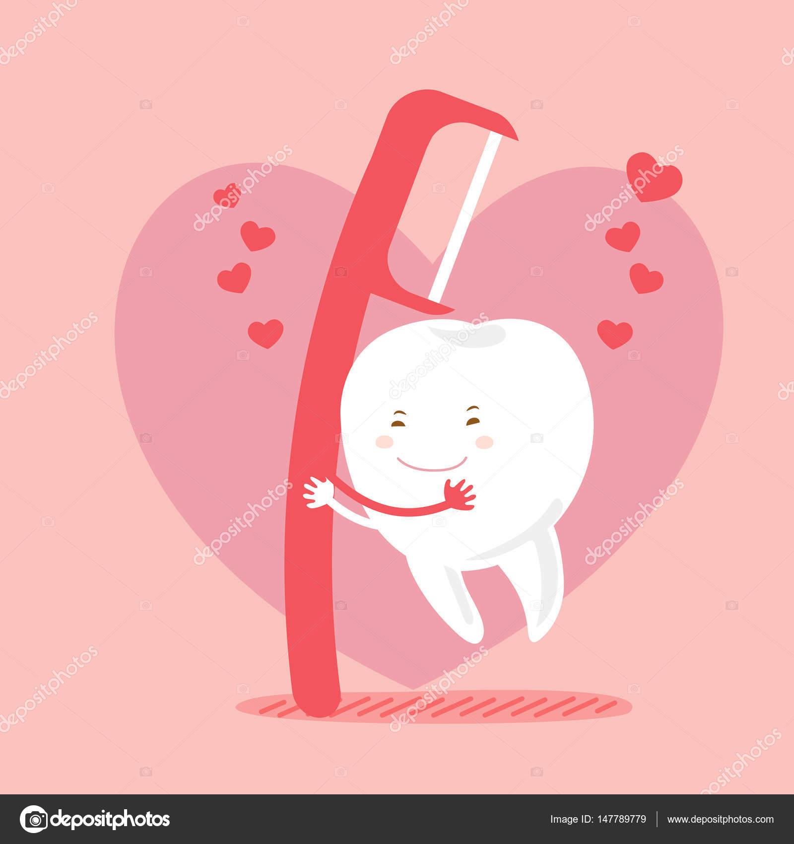 e5370e4d5 Dentes de amor bonito dos desenhos animados e fio dental com fundo rosa —  Vetor de ...
