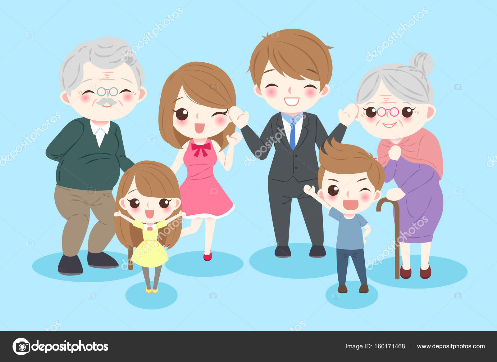 Familia Feliz De Dibujos Animados Archivo Imágenes Vectoriales