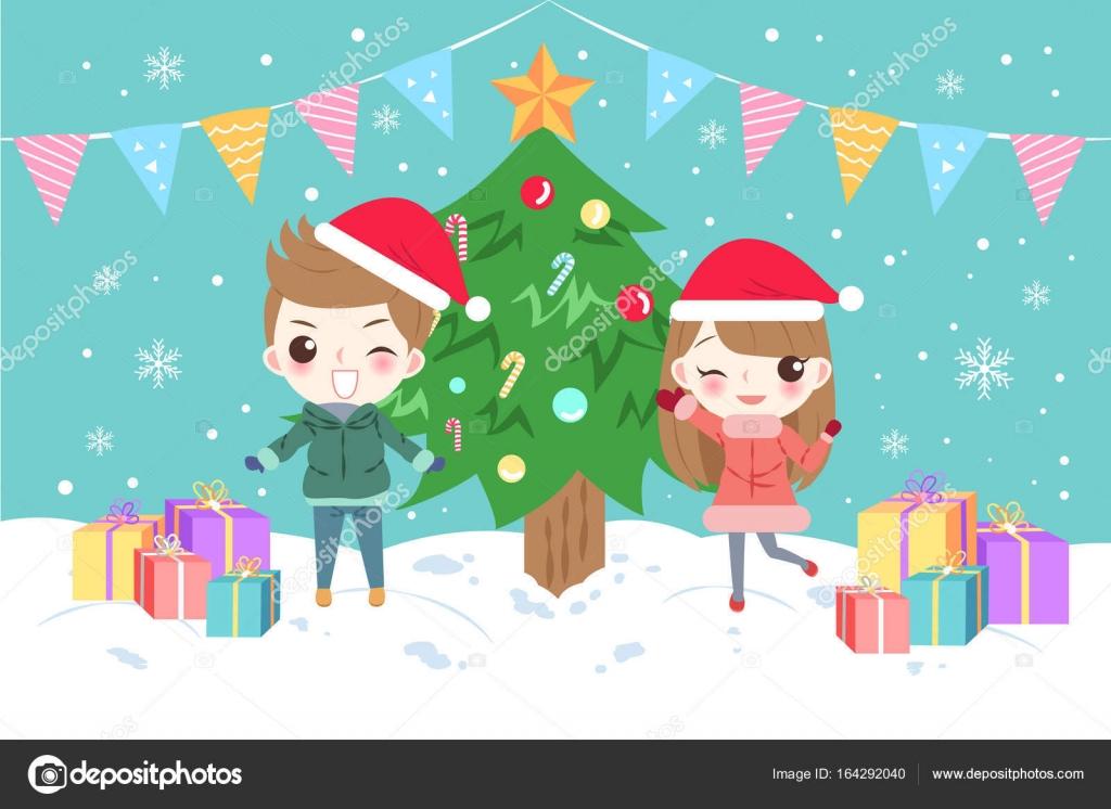 Buon Natale Per Bambini.Bambini Del Fumetto Con Buon Natale Vettoriali Stock