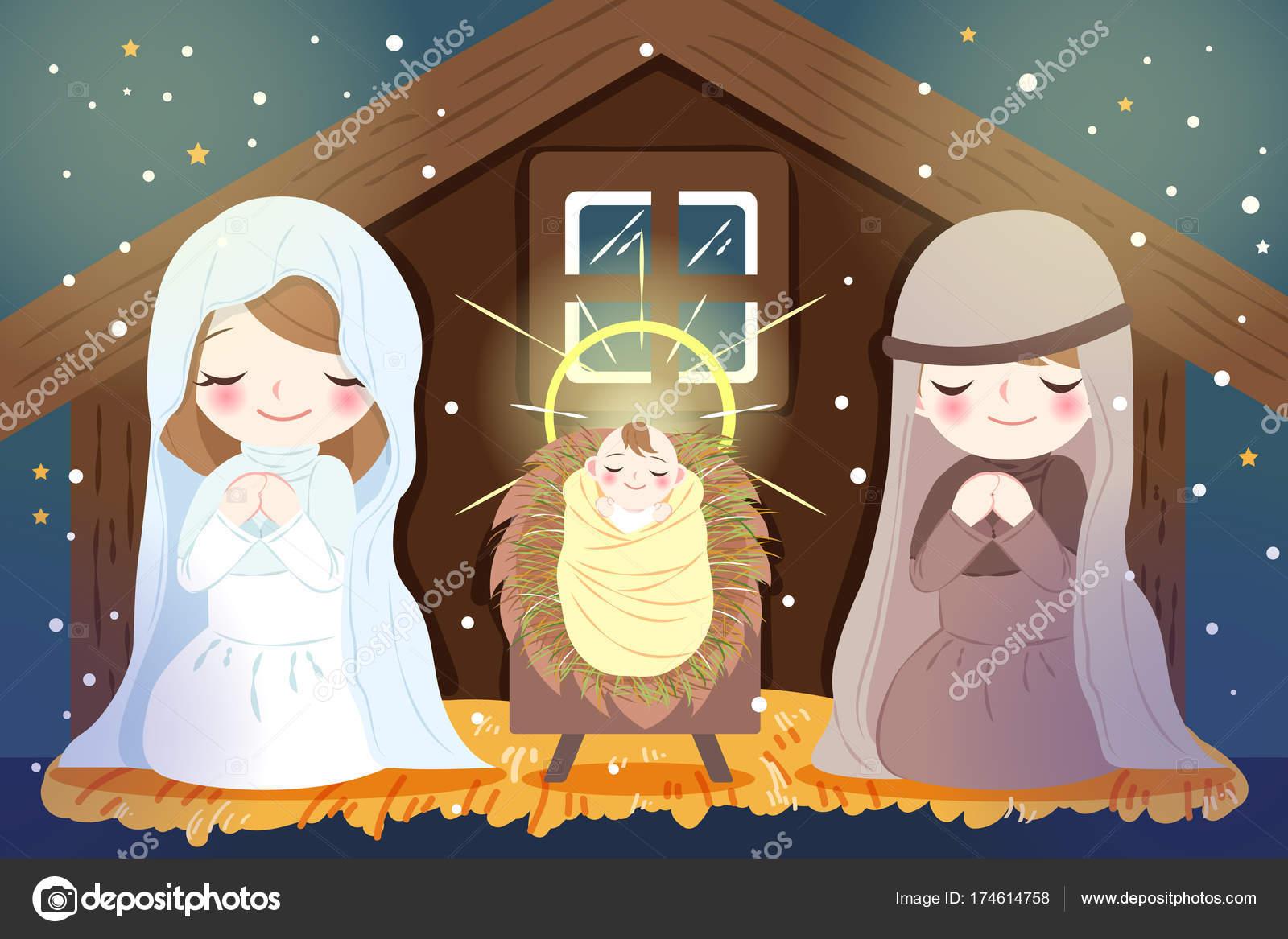 Weihnachten mit dem Jesuskind — Stockvektor © estherqueen999 #174614758
