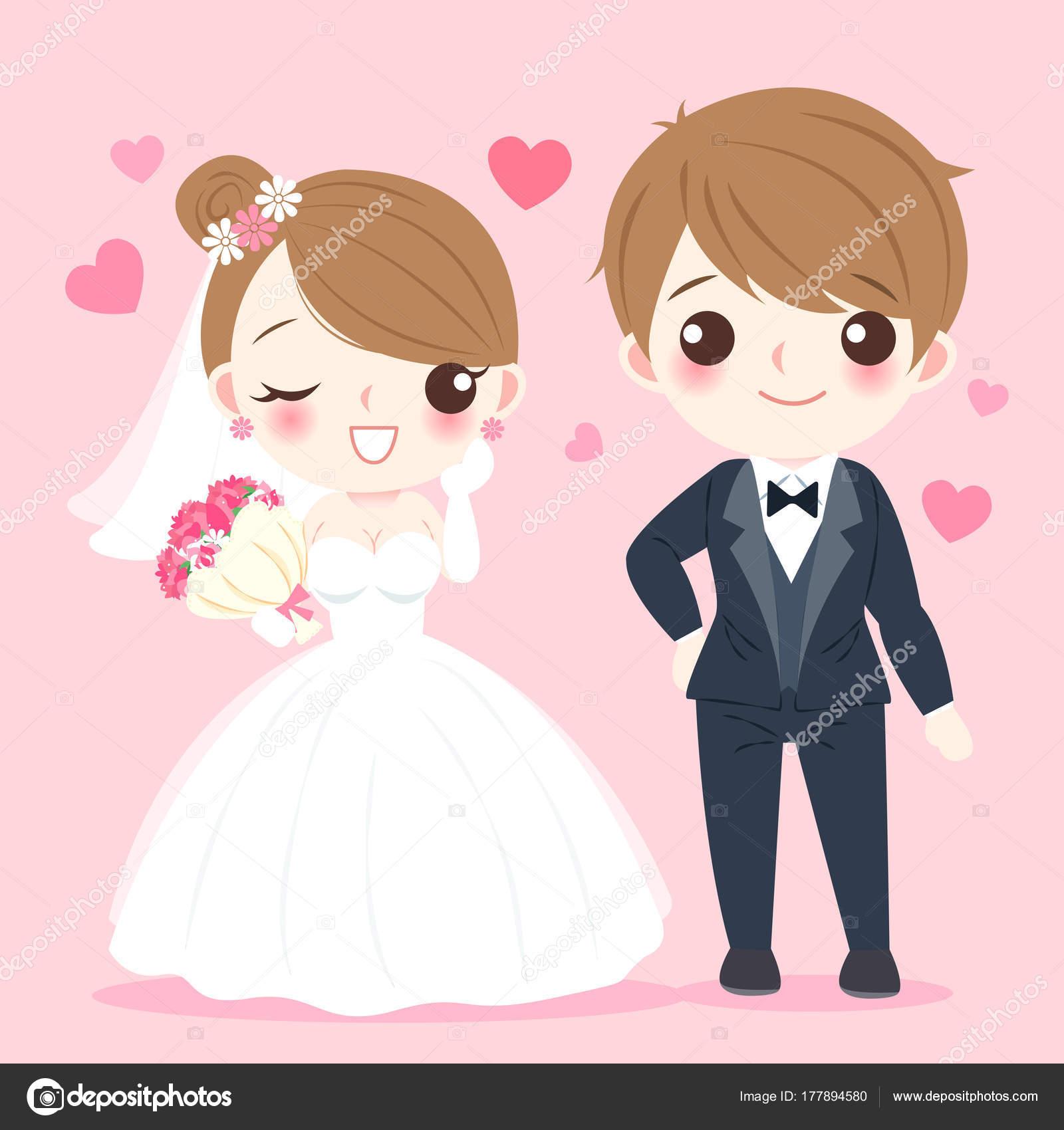 gente de la boda de la historieta — Archivo Imágenes Vectoriales ...
