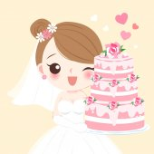 cute cartoon bride with cake