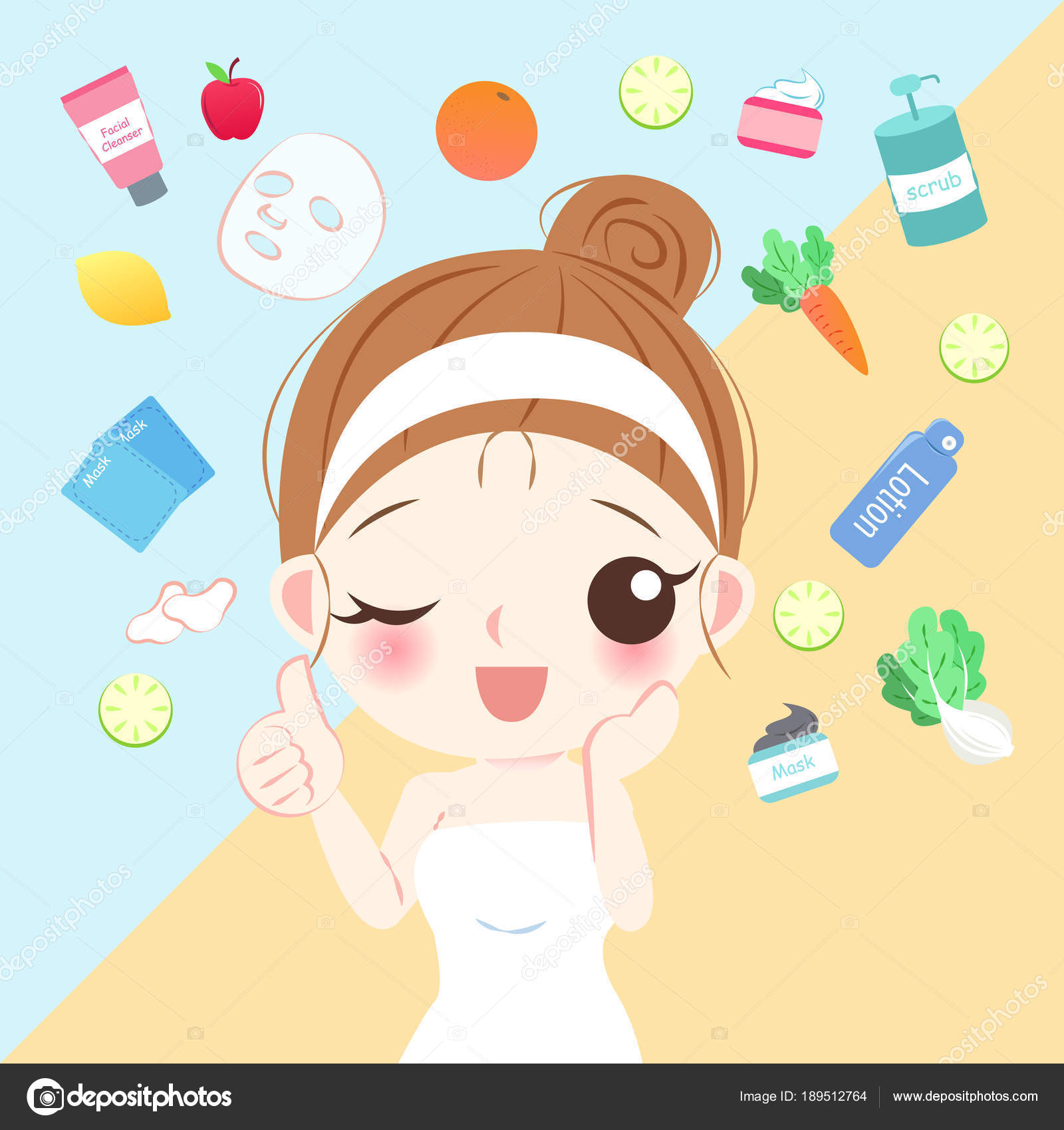 Pictures Beauty Cartoon Beauty Cartoon Skin Care Woman Stock Vector C Estherqueen999 189512764
