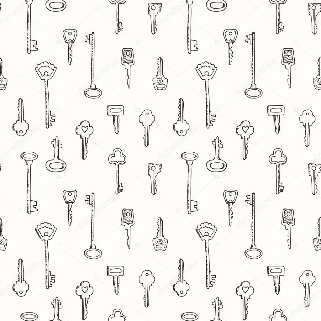 Patrón sin fisuras de llaves vintage. Ilustración de dibujado a mano ...
