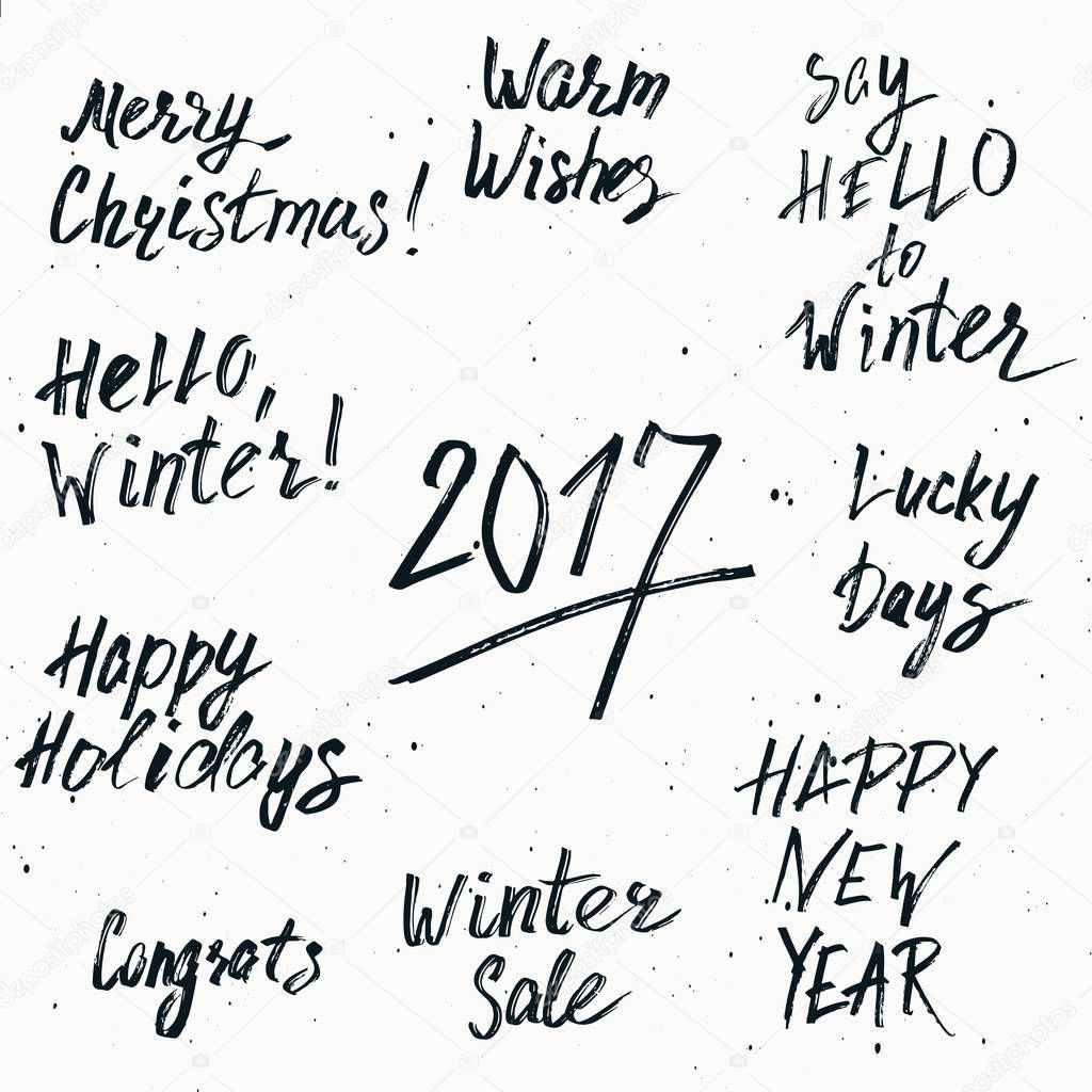 happy new year 2017 and merry christmas holiday printable templates set vector hand drawn marker