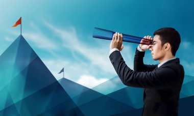 Business Vision and Leadership Concept, Businessman Looking or Searching for Success Victory Flag at Mountain via transparent Telescope Monocular, Side view