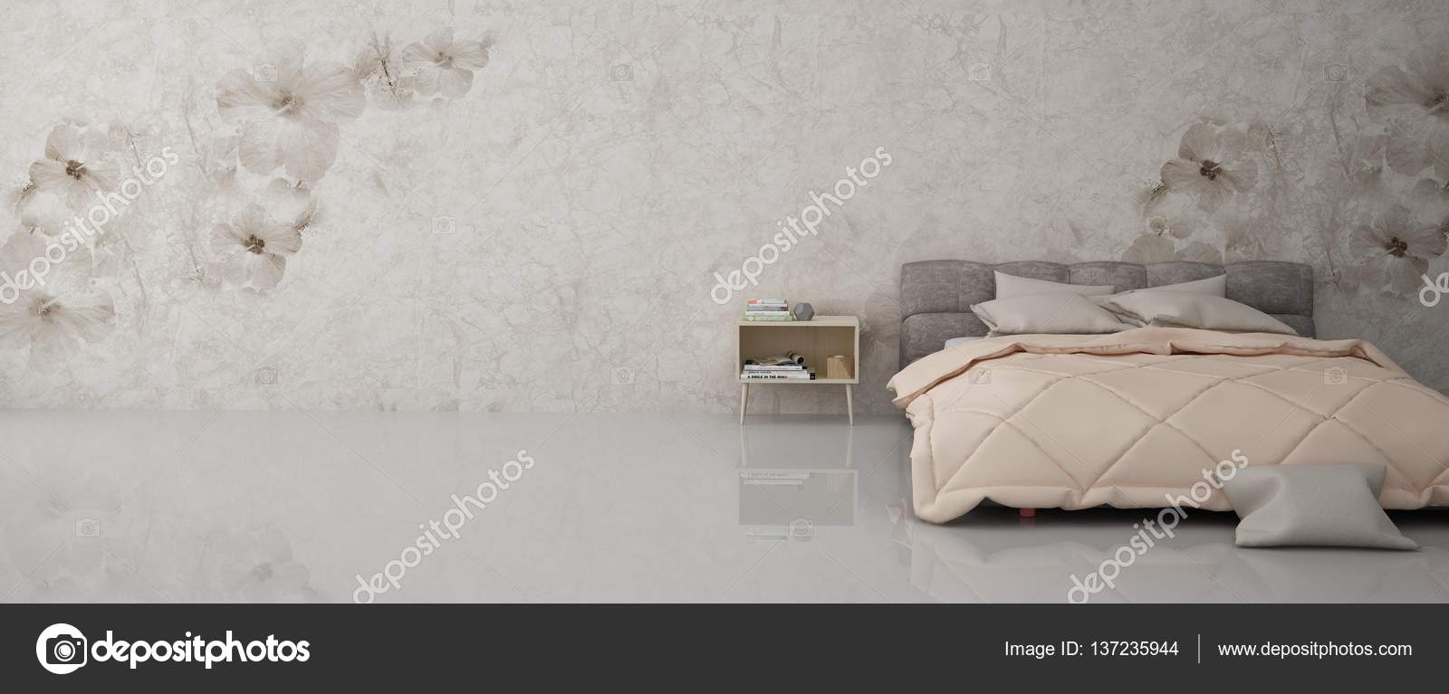 Wunderbar Elegantes Schlafzimmer Innenarchitektur Hintergrund Mit Kuscheligen Bett,  Tisch Und Tapete U2014 Foto Von Sangeetajais