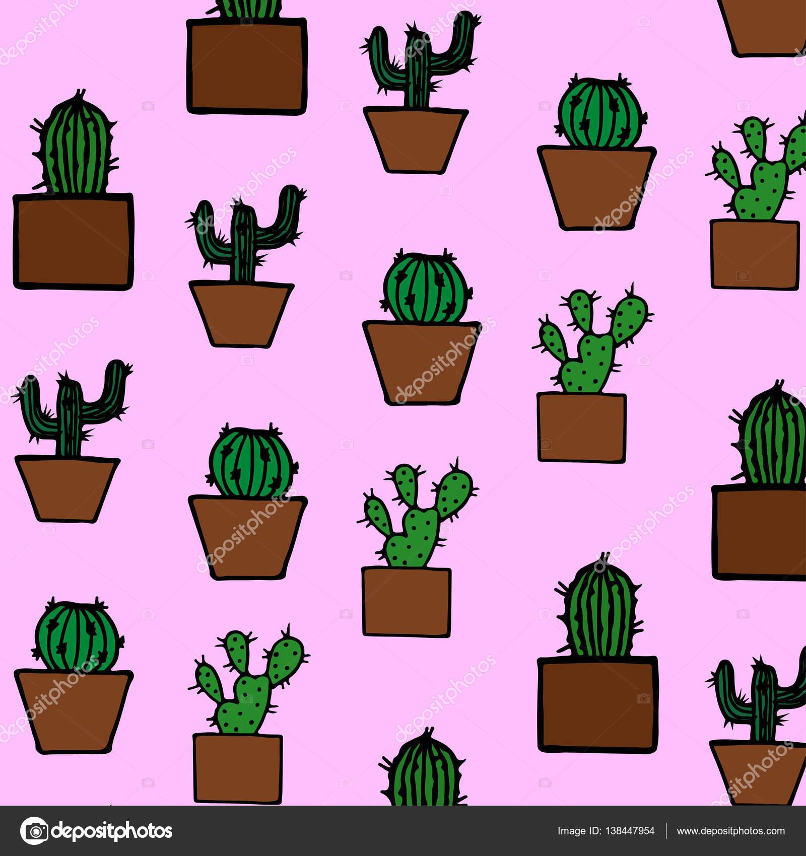 Hand gezeichnet Kaktus Muster — Stockvektor © stasyspecial.gmail.com ...