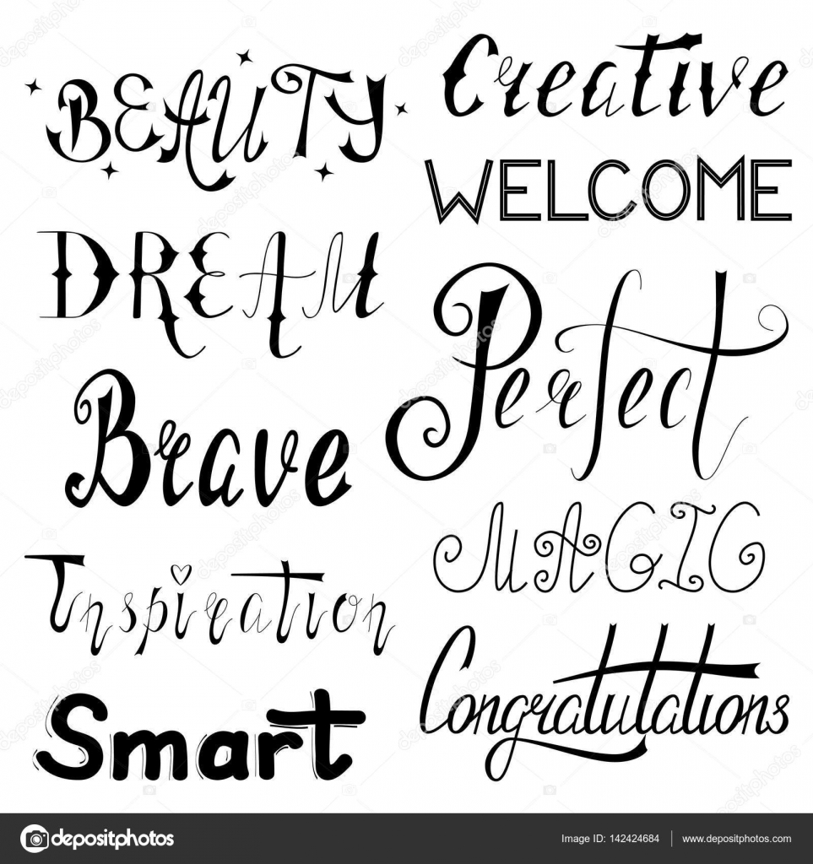 Handschriftliche Inspirierende Und Motivierende Wörter Stockvektor