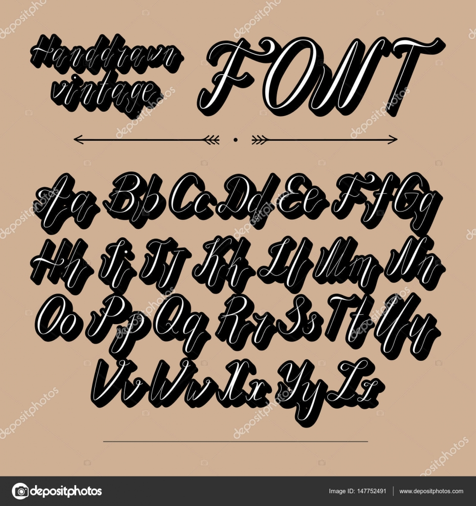 Handwritten Lettering Font Alphabet Made In Vector Typeface Modern Style Vintage Script Hand Drawn Retro Calligraphic For Labels
