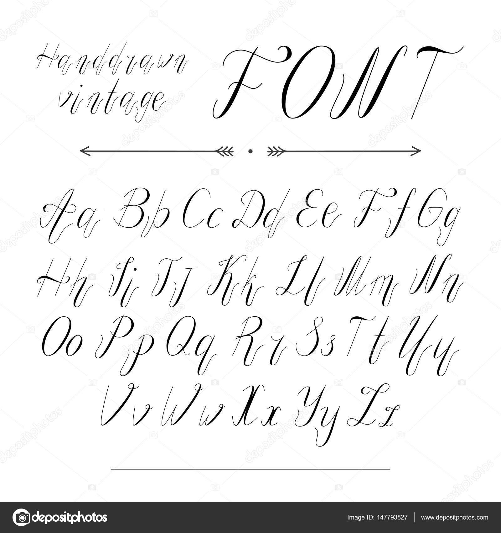 El Yazısı Harfler Yazı Tipi Alfabe Stok Vektör Stasyspecial