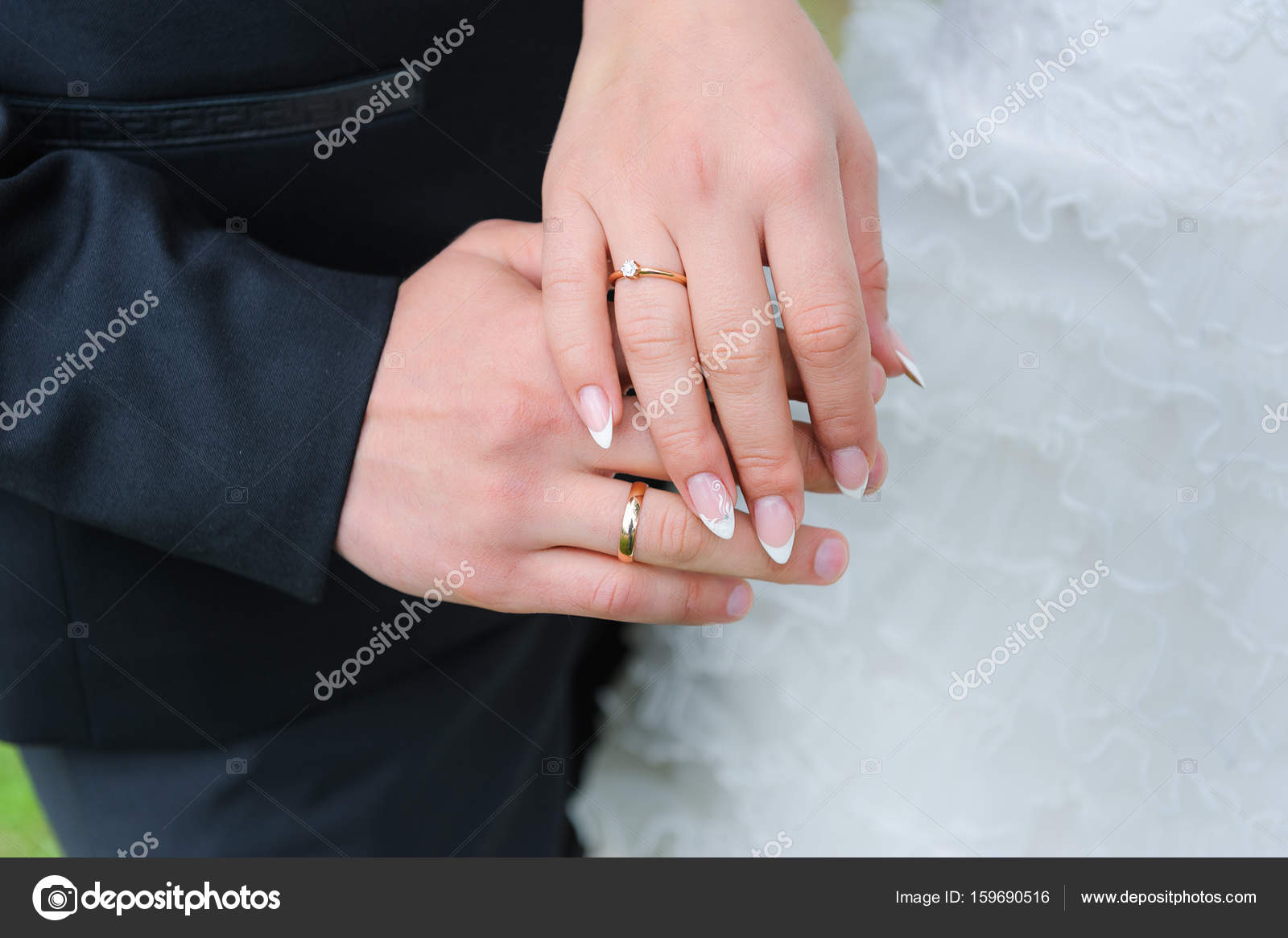Holding Hands with wedding rings — Stock Photo © kaznadey #159690516