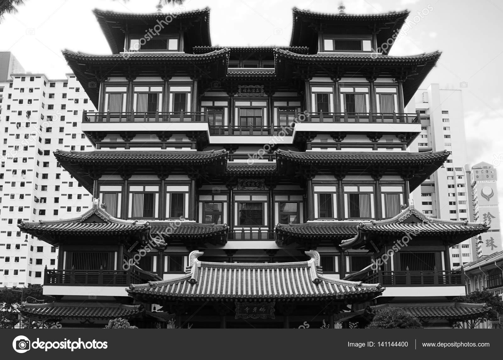 Buddha Tooth Relic Tempel Singapur schwarz weiß — Stockfoto ...