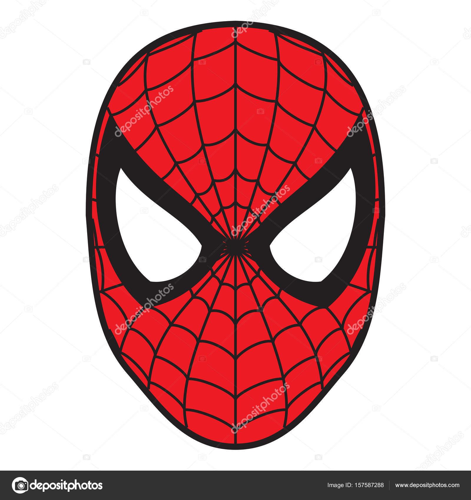 örümcek Adam Maske Illüstrasyon Kırmızı Rengi Stok Editoryel