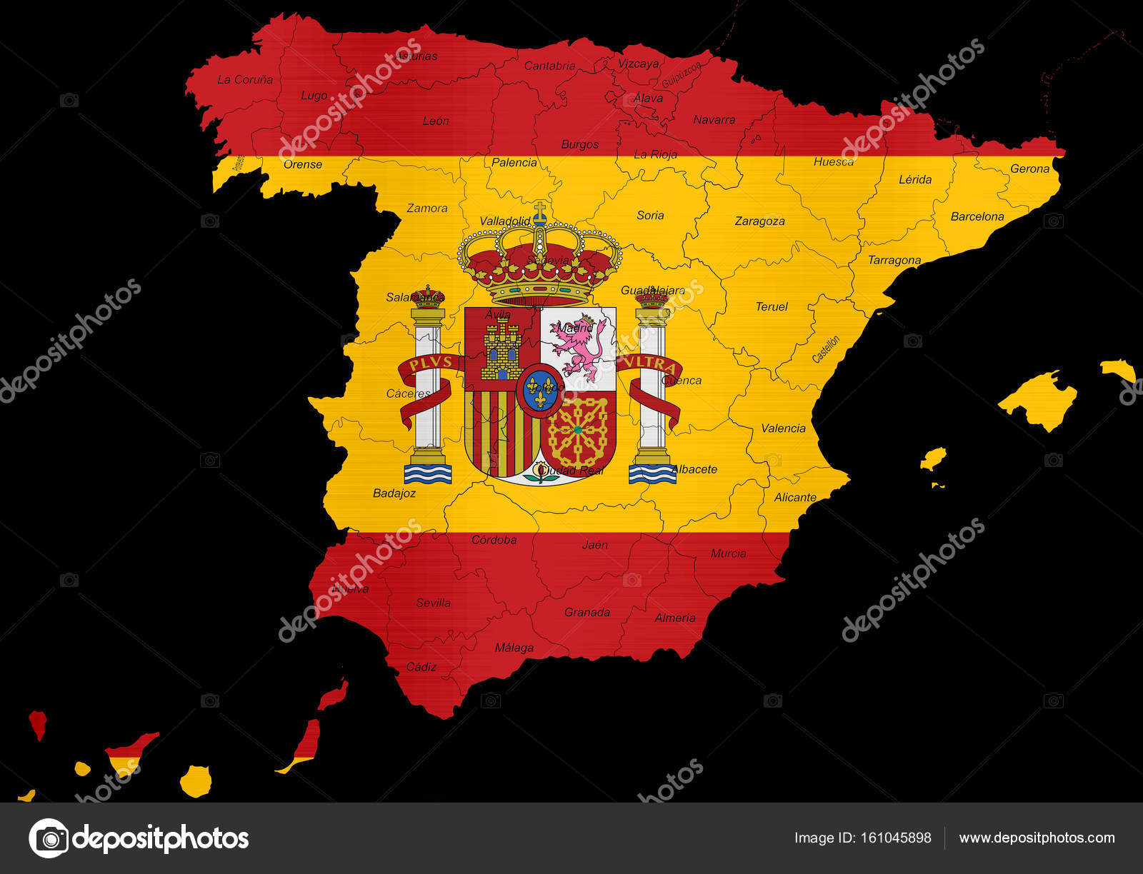 Spanien Regionen Karte.Spanien Flagge Karte Regionen Provinzen Stockfoto