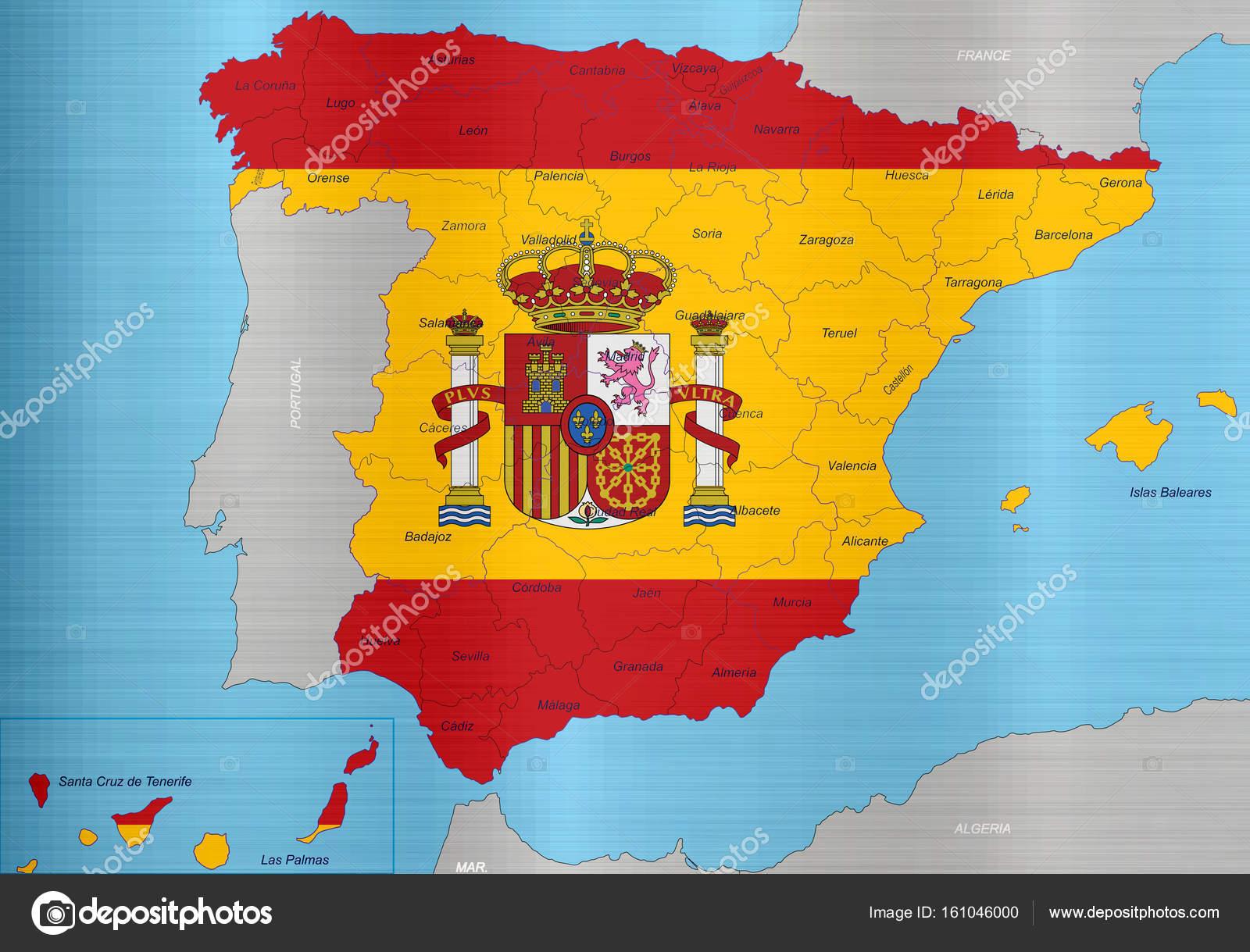 Spanien Regionen Karte.Spanien Flagge Karte Regionen Stockfoto Chutimakuanamon 161046000