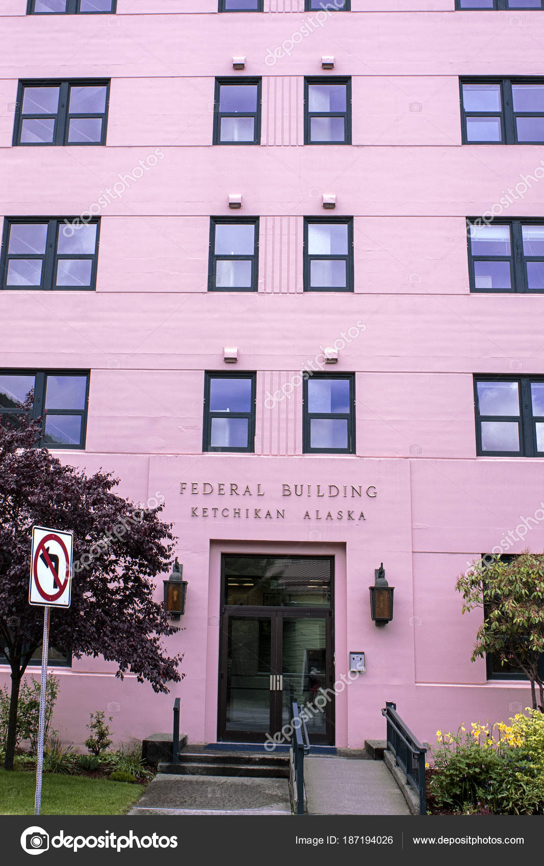 Federal Building Ketchikan Alaska Entrance Pink Color – Stock ...