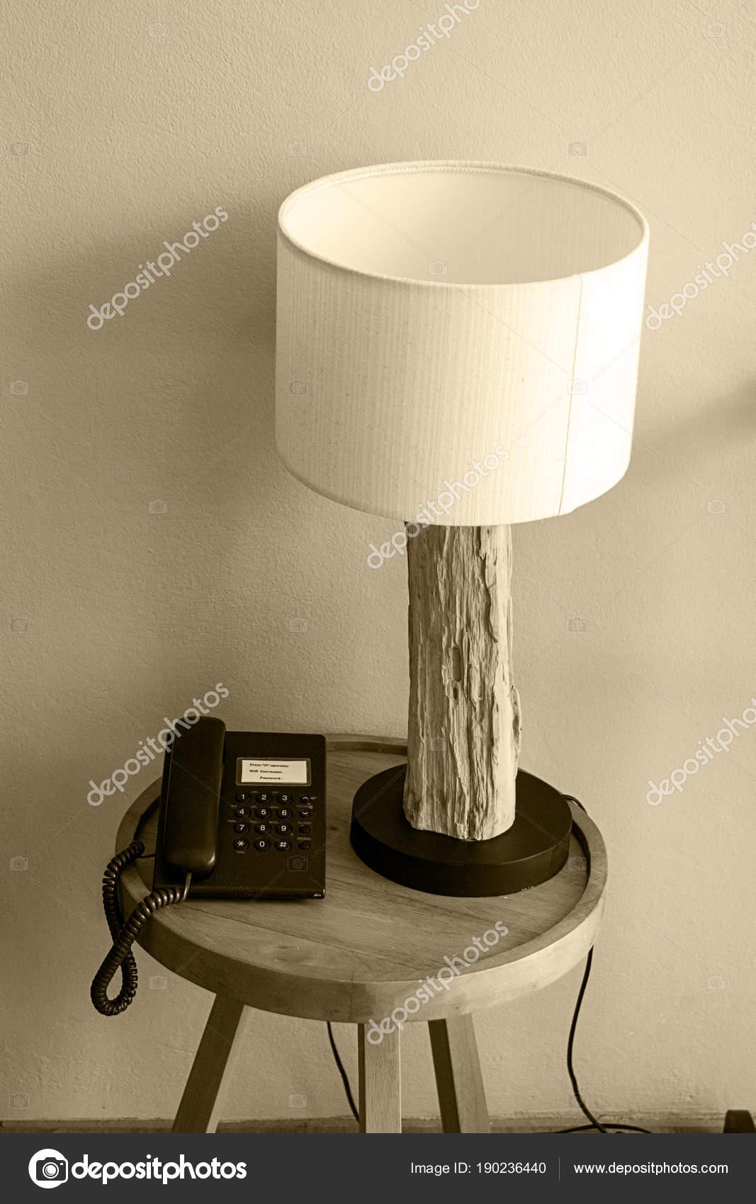 Lampe Intérieur Tronc Bois Téléphone Table Chevet Moderne Retro OZiPkXu