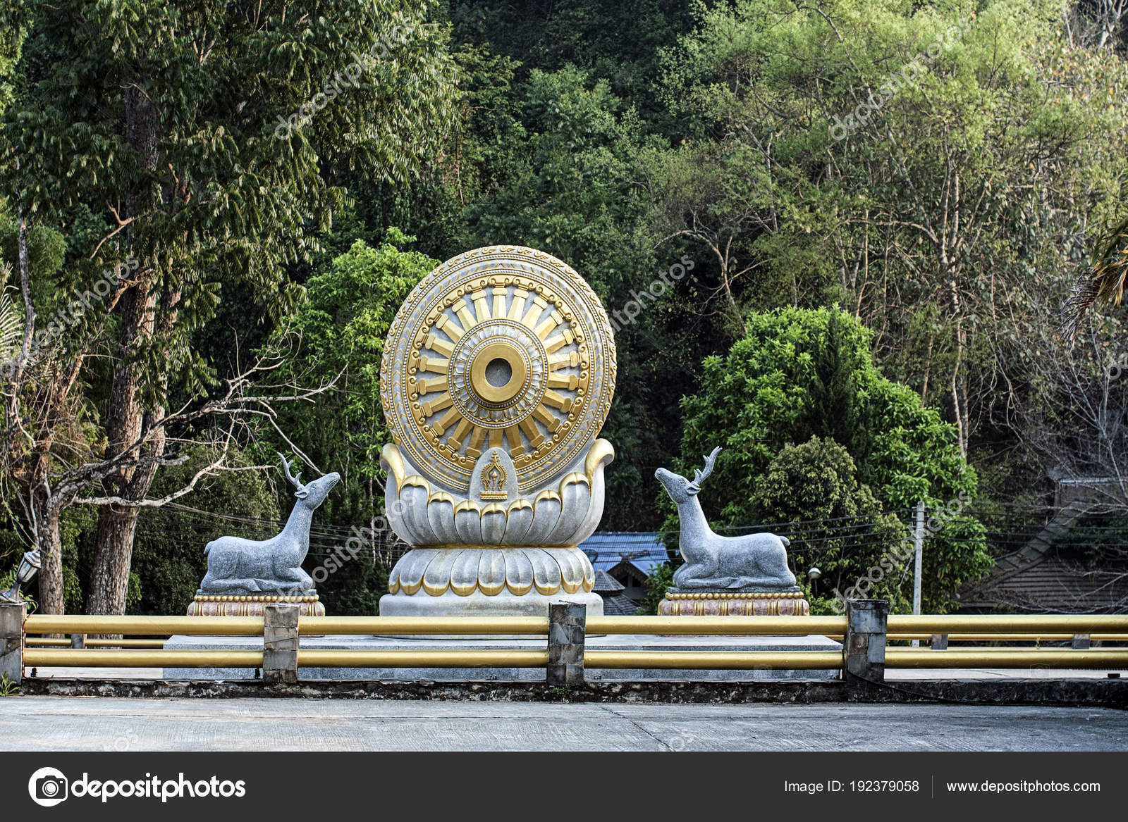 buddha wat phraphutthabat roi province thailand dhamma wheel stock