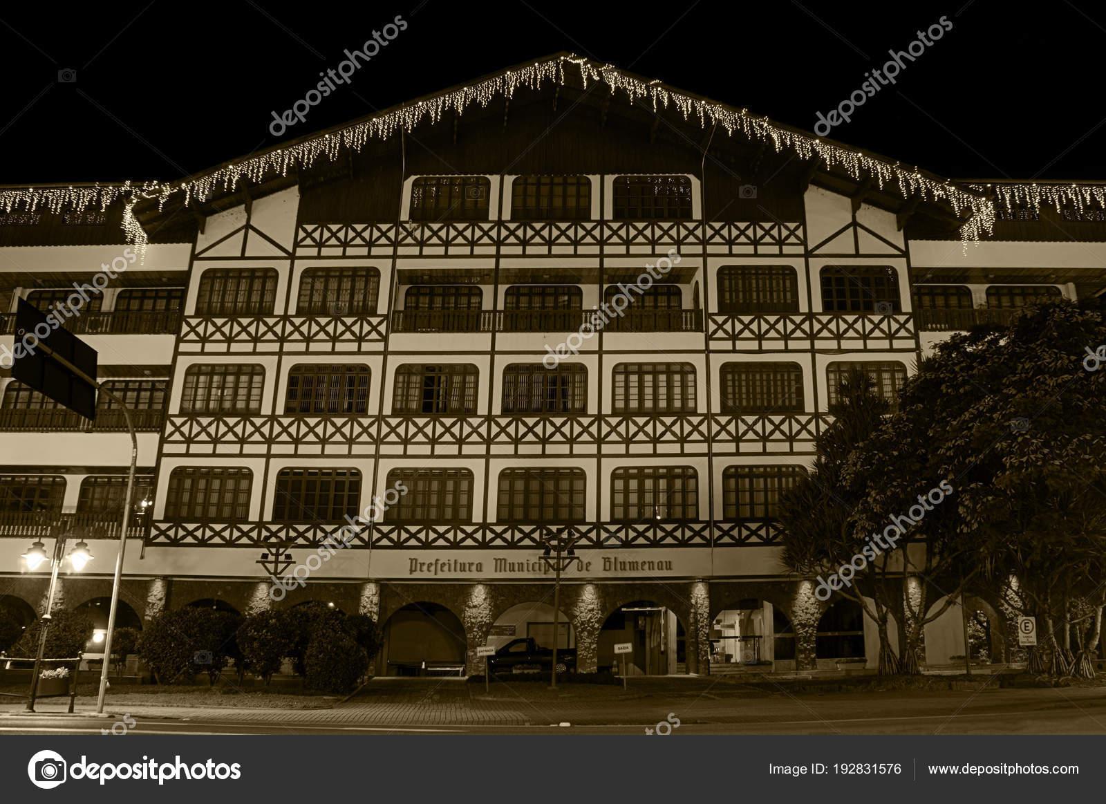 Blumenau City Hall German Colonial Architecture Night Lights