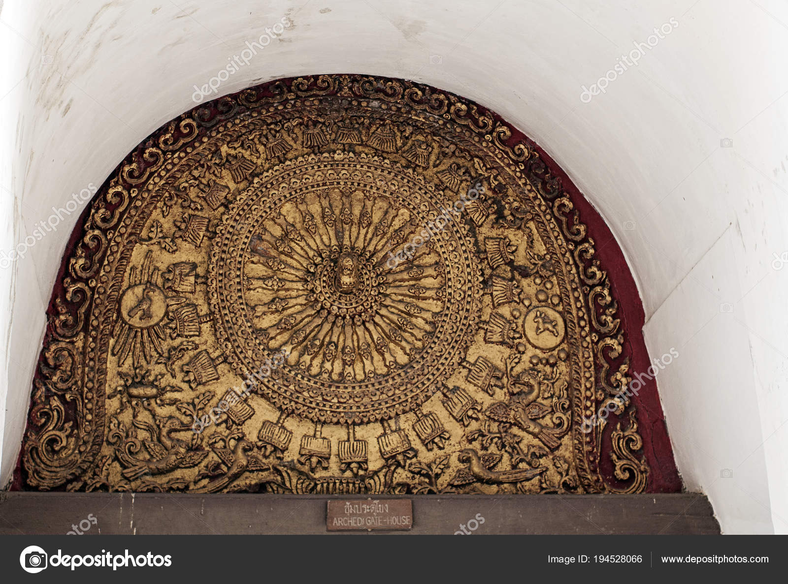 archedi gate house thailand fortified temple dhamma wheel stock