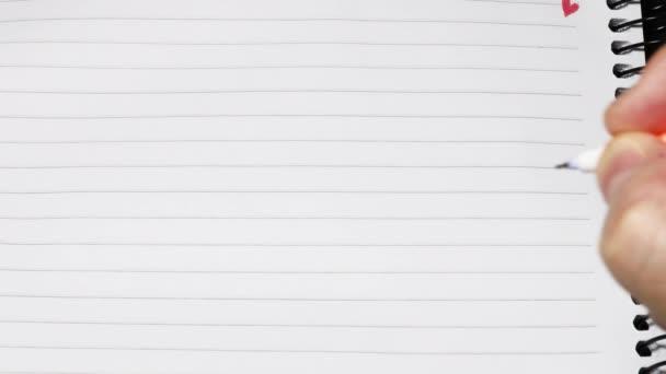 írás notebook toll kézzel üres üres sorok üzenet