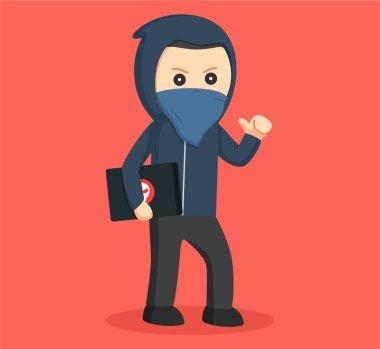 hacker carrying laptop vector illustration design