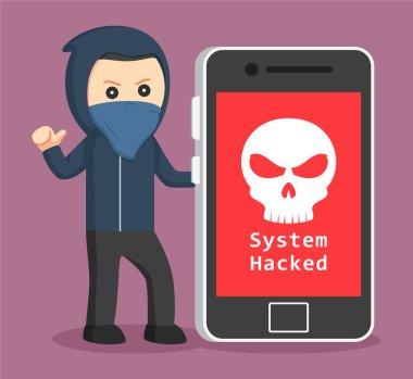 hacker with big smartphone