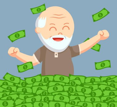 fat old man enjoy is retirees money