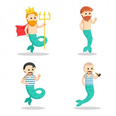 mermaid man set illustration design