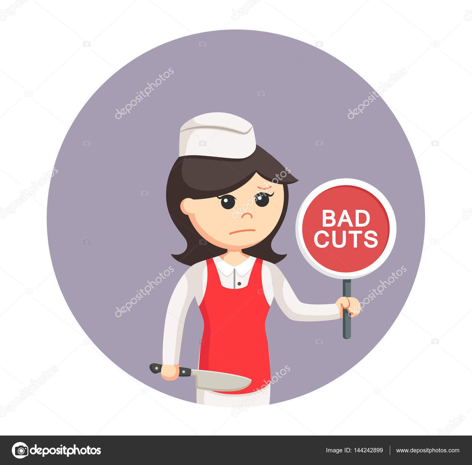 Kötü Kadınla Kasap Işareti Daire Arka Planda Keser Stok Vektör