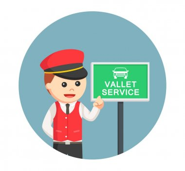 male valet with valet service sign in circle background