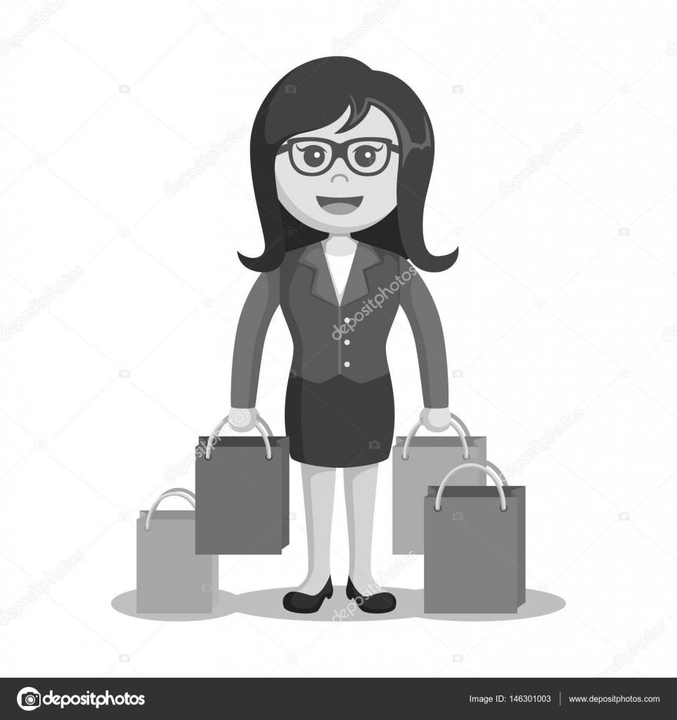 a2331cdd6aa0f Czarno-biały dama stylu biało-czarna torba na zakupy– ilustracja stockowa