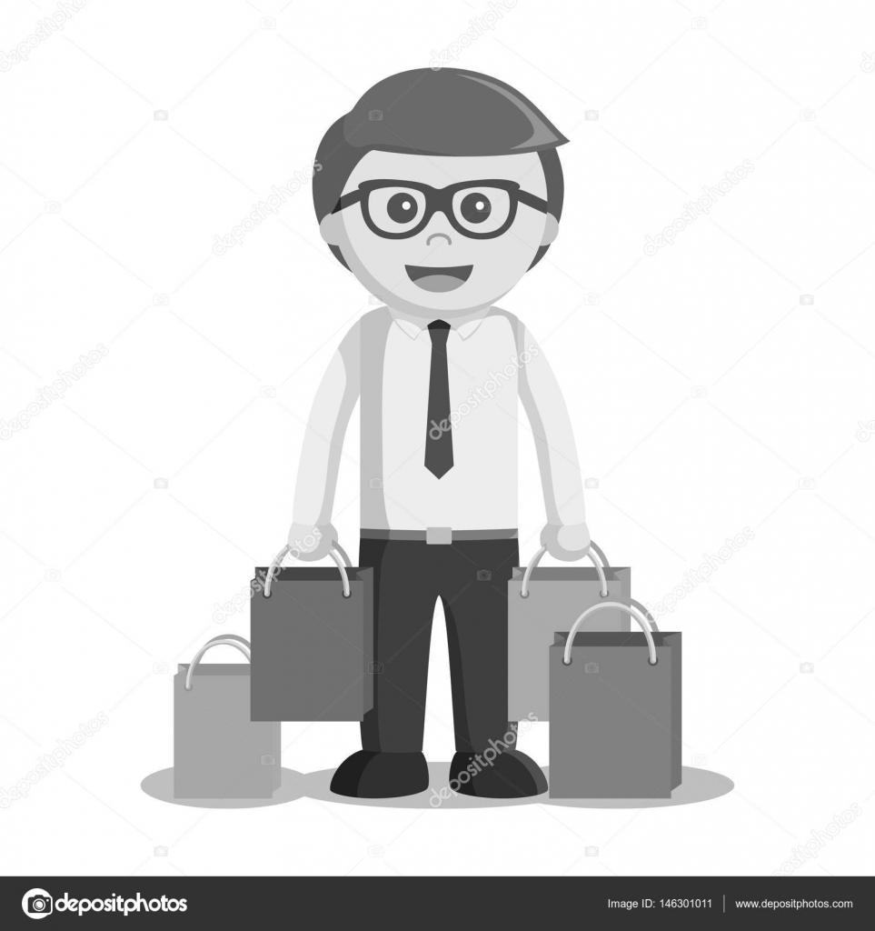 1bd8742d4bf93 Czarno-biały biznesmen gospodarstwa stylu biało-czarna torba na zakupy–  ilustracja stockowa
