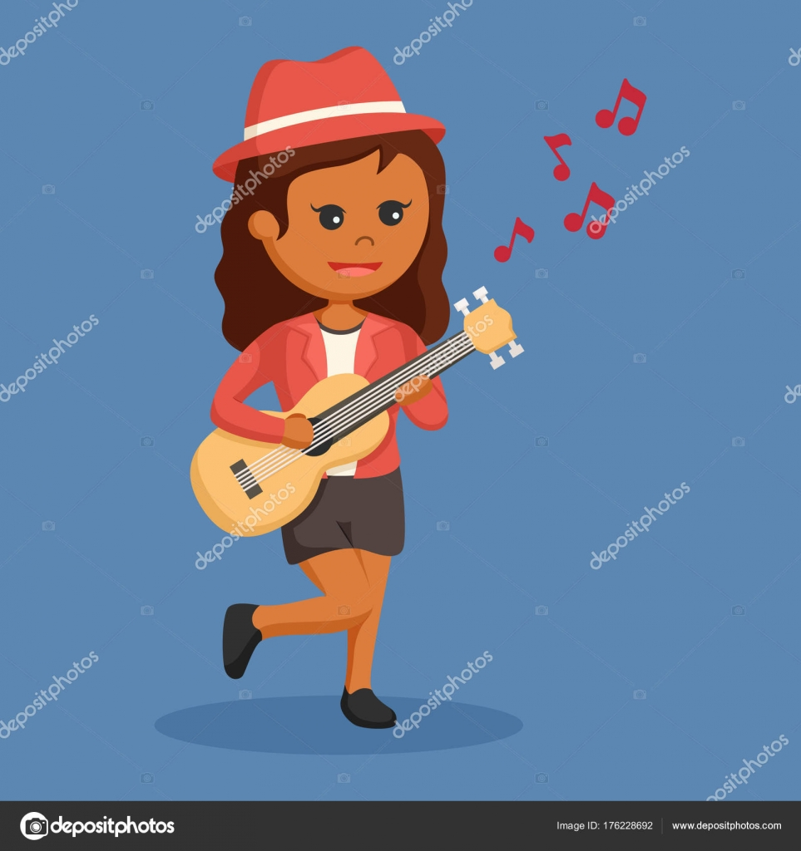 African Woman Musician Guitar — Stock Vector © redrockerz99 #176228692