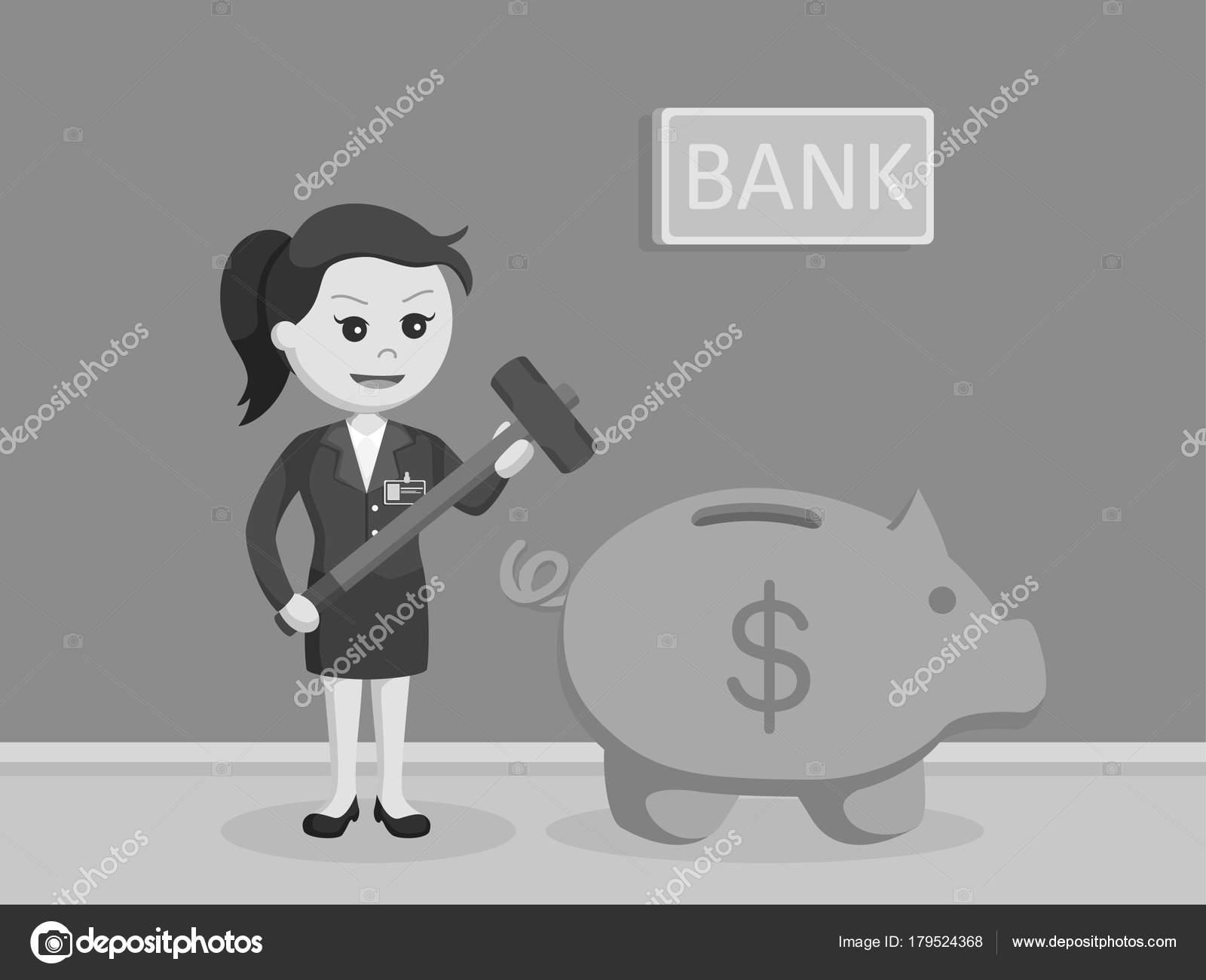 女性銀行の出納係は黒と白の貯金...