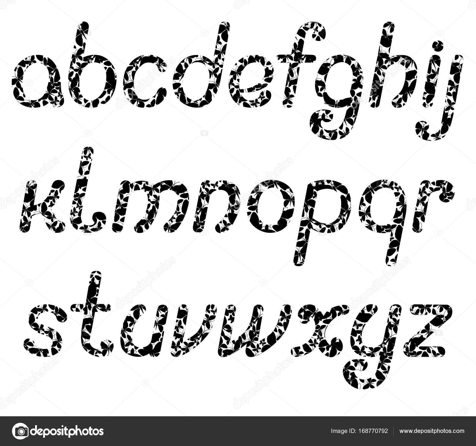 Les Lettres De L Alphabet Anglais Compose De Nombreux Papillons